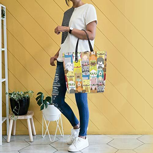 Gigijy Handtasche mit niedlichem buntem Hundemuster, groß für Damen, Schultertasche, Einkaufstasche, Organizer, Taschen für Frauen, Top-Griff
