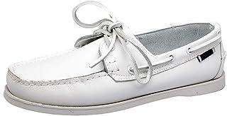 XFQ Chaussures Bateau Homme, Chaussures De Pont Classique en Cuir Ville Chaussures Casual,Blanc,41EU