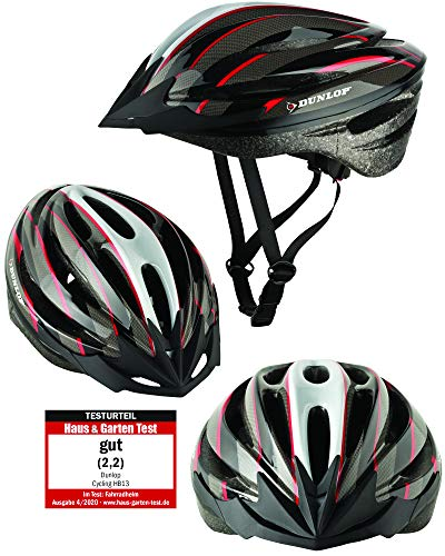 Fahrradhelm Dunlop HB13 für Damen, Herren, Kinder, EPS Innenschale, Abnehmbares Visier für optimalen Blendschutz, Leichter MTB City Bike Helm, besonders Luftig (L(58-61cm), Rot)