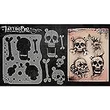 Tattoo Pro Airbrush Stencil Series 1 - Skulls, Mylar Airbrush Tattoo Template, Reusable Face Paint Stencil