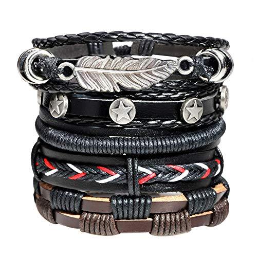 Crrs Retro Lederarmband Mehrschichtiges gewebtes Blatt Stern Kombinationsarmband Verstellbares Manschettenarmband Armreif Armband
