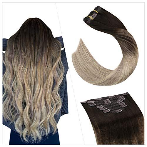 Ugeat Human Hair Extension Clip Cheveux Naturel 16 Pouces Extensions Cheveux Clips Remi Vrai Humains 7PCS 100Gramme Clip Hair Extensions Marron Fonce Fading to Blonde #4/18/22