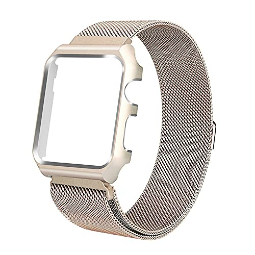 G-rf Metal Bands Compatible with Apple Watch Band 38mm 40mm 42mm 44mm, Stainless Steel Milanese Framed Protective Case Replacement Bands (42mm,Gold)