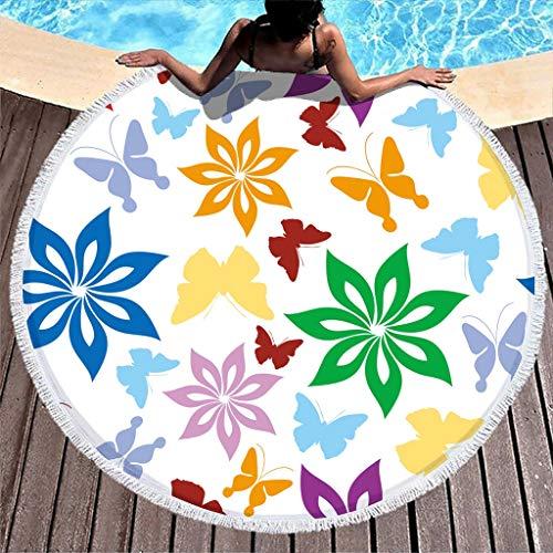 Toalla de playa de felpa grande con mariposas y flores, esterilla de yoga de meditación con círculos a rayas, ruedas a prueba de arena, 59 pulgadas con