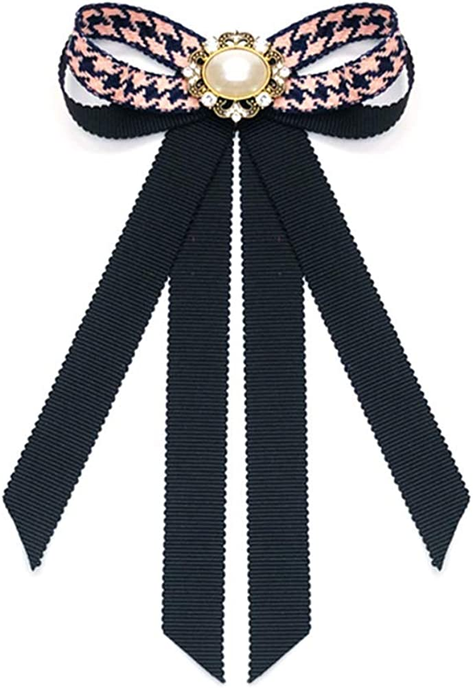 Potelin Bow Tie Rhinestone Ribbon Dangle Bowknot Brooches College Style Bow tie Boutonniere for Women Girl 10.5 16cm Comfortable and Environmentally