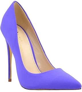 Olivia Jaymes Women's Dress Pump | Pointed Toe Low-Cut Vamp | Sculptured Stiletto Thin Heel Slip-on Pumps