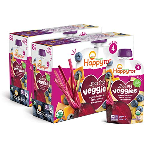 Happy Tot Organic Stage 4 Baby Food Love My Veggies Banana Beet Squash & Blueberry, 4.22 Ounce (Pack of 16) (Packaging May Vary)