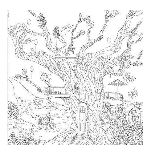 Honsell- Telaio casetta sull'albero, Formato 30 x 30 cm, Motivo prestampato da colorare con Colori acrilici, acquerelli e ad Olio e pennarelli Colorati, Bianco, 12101