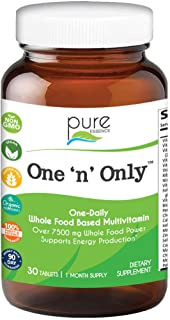 One n Only Whole Food Multivitamin by Pure Essence - Super Energetic One a Day with Superfoods, Minerals, Enzymes, Vitamin D, D3, B12, Biotin - 30 Tablets