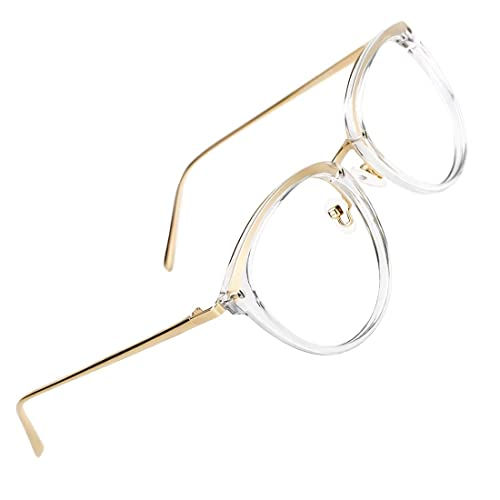 5c8432fe206 TIJN Round Optical Eyewear Non-prescription Eyeglasses Frame Blue Light  Blocking Glasses Computer Glasses for