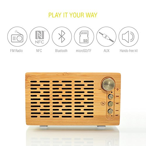 Smart Bluetooth Speaker DJ Roxxx Big Woody | Draagbare Draadloze Luidspreker NFC Pairing MP3 Player FM Radio Handsfree | PC Luidspreker | Smartphone Tablet | Noble Retro Design, Bamboo Case