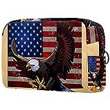 Neceser de Maquillaje para Mujer Bolso Organizador de Kit de Viaje cosmético,Banderas de Estados Unidos Aves Americanas