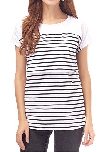 Smallshow Stillshirt Kurzarm Umstands Tshirt Umstandstop Umstandsmode Stilltop Baumwolle Schwangerschaft Streifen Shirt, Weiß, XXL