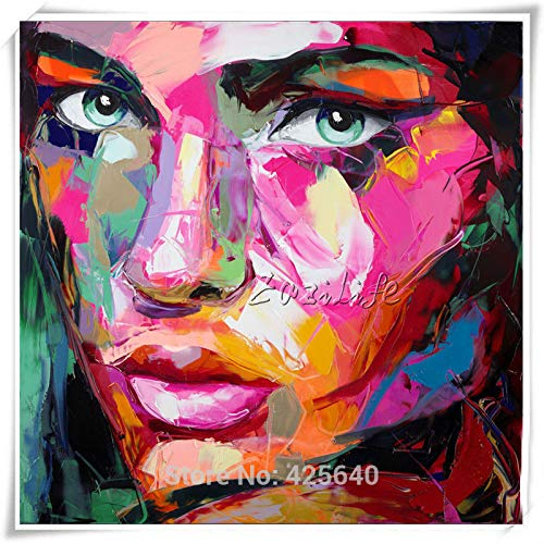 N / A Canvas Palette Knife face Oil Painting Wall Art Picture Living Room Home Decoration