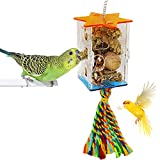FLYSTAR Bird Foraging Toys - Creative Parrot Feeder Toy Intelligence Growth Cage Acrylic Box Food Holder Toys with Swing Toys for Anchovies, Parakeets, Cockatiel, Conure, Mynah, Macow,etc.