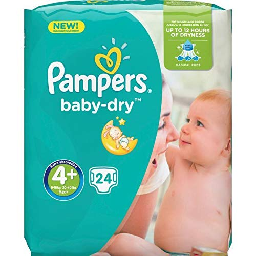PAMPERS Baby-Dry Taille 4+ - 9 a 18kg - 24 couches