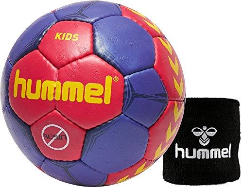 hummel Kinder Handball Kids 91792 (Farbe Mint/Magenta oder Blue/orange wählbar) Größe 00/0/1 im Set mit Schweißband Old School Small Wristband 99015 (schwarz) (Bright Rose/Purple/Yellow (3682), 1)