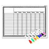 Magnetic Refrigerator Chalkboard (8 Free Markers), Dry Erase Board, Chore, Responsibility, Activity, Reward Star Chart(White 16inch X 12inch Horizontal Flat Pack)