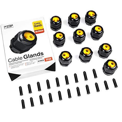 Kabelverschraubung Set Wasserdichte IP68 Kabelsteckverbinder mit Gegenmutter Kunststoff M25 für 4mm-8mm Kabeldurchmesser Schwarz (10er-Pack)