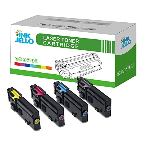InkJello Remanufatured Toner Cartridge Replacement for Dell C2660dn C2665dnf (Black/Cyan/Magenta/Yellow, 4-Pack)
