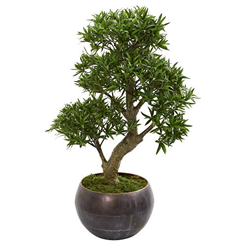 "Nearly Natural 37"" Podocarpus Artificial Bonsai Metal Bowl Silk Trees Green"
