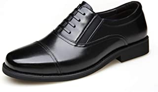 Leather Oxford for Men Business Shoes Lace up Genuine Leather Round Toe Block Heel Elastic Rubber Sole Stitching Three  Joints shoes (Color : Black, Size : 46 EU)
