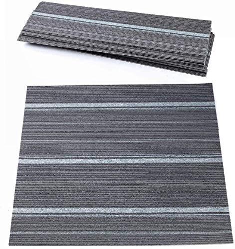 uyoyous Juego de 12 alfombras en losas de 100 x 25 cm, 3 m², alfombra resistente para oficina, alfombra de suelo con pelo de nudos de alta calidad, antiestática, con base de betún