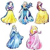 Babioms 5PCS Princesa Globo, Cenicienta, Campana, Blancanieves , Bella Durmiente &Reina de las Nieves Temática Princesa Globos, Globos Cumpleaños Decoracion de Princesa