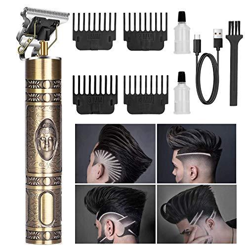 Haarschneidemaschine, Neu Aktualisiert Herren Haarschneidemaschine Profi Trimmer Herren, T-Outliner Barttrimmer USB Wiederaufladbar Schnurloser Elektrischer T-Blade Trimmer für Männer (Golden)