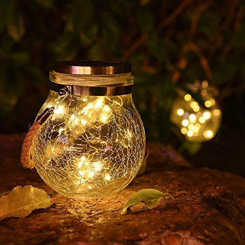 Armondii Solar Außen Garten LED Laterne Crack Design Glass Ball 30 Licht LED Strip 3M Wasserdichte Solarlampen Warmes Licht für Hochzeitsdekoration, Patio, Partei (1 Stück)