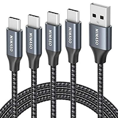 NIMASO USB C Cable, [4-Pack] USB Type C Charger Cable Fast Charging Lead For Samsung Galaxy S10 S9 S8 S20 Plus A3 A51 2017 Note 10 9 8, Huawei P10 P9, Google Pixel, Sony-0.3M+1M+2M+3M Nylon Braided