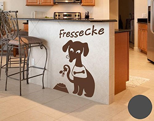 Klebefieber Wandtattoo Hunde-Fressecke B x H: 40cm x 60cm Farbe: dunkelgrau