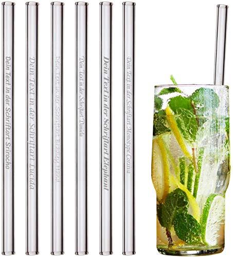 HALM Glas-Strohhalme mit persönlicher Gravur - 6 Stück gerade 20 cm Glasstrohalme - Personalisierte Geschenke - Geburtstag Hochzeit - Personalisierbar - Glastrinkhalme