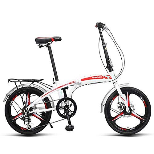 "DJYD Erwachsene Falträder, 20\"" High-Carbon Stahl Folding City Bike Fahrrad, faltbares Fahrrad mit Rück Carry Ständer, Doppelscheibenbremse Fahrrad, Rot FDWFN (Color : Red)"