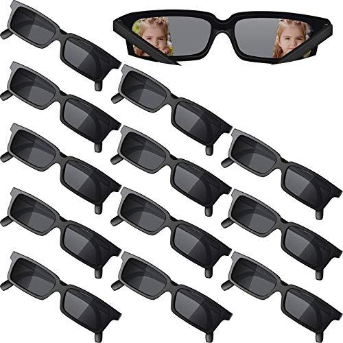 12 Stücke Agent Brille Rückansicht Brille Lustige Kostüm Brille Zubehör für Abschlussfeiertage Geburtstagsfeier, Kinder und Erwachsene, Schwarz