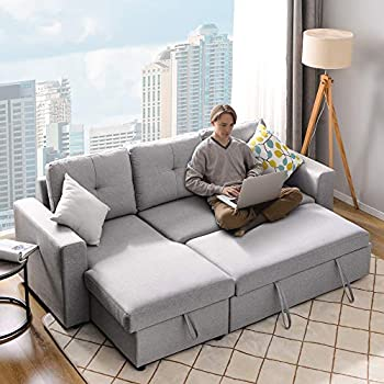 Merax 90  Reversible Sleeper Sectional Sofa Couch with Pull-Out Sleeper Grey Corner Sofa Bed with Ottoman/Storage