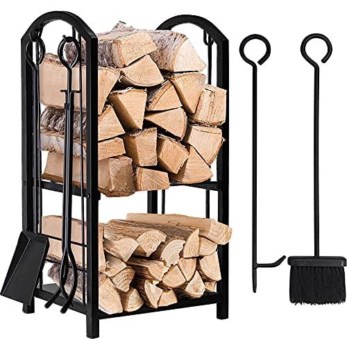 Amagabeli Porte bûches de cheminée avec 4 outils 74 x 40 x 30cm Ensemble d'outils de Cheminée Grande Capacité Range-bûches Support de bois de Chauffage pour Intérieur Extérieur Rack de Stockage Outils