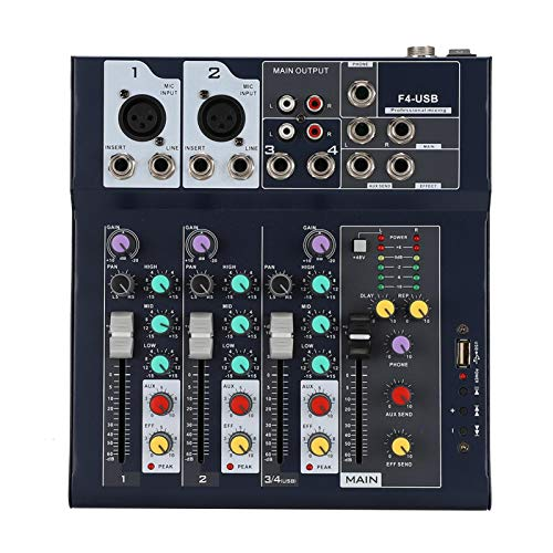 Mezclador de audio, mezclador de escenario de 4 canales F4-USB, mezclador de estudio portátil con medidor de nivel principal LED de 5 segmentos(EU)