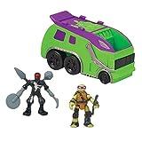 Teenage Mutant Ninja Turtles Micro Mutant Garbage Truck with 1.15' Super Ninja Donatello and Robotic Foot Soldier Figures and Vehicle