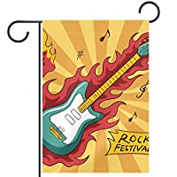 ガーデンヤードフラッグ両面 /12x18in/ ポリエステルウェルカムハウス旗バナー,ミュージカルギターロック