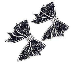 Black Handmade Bow Resin Rhinestone