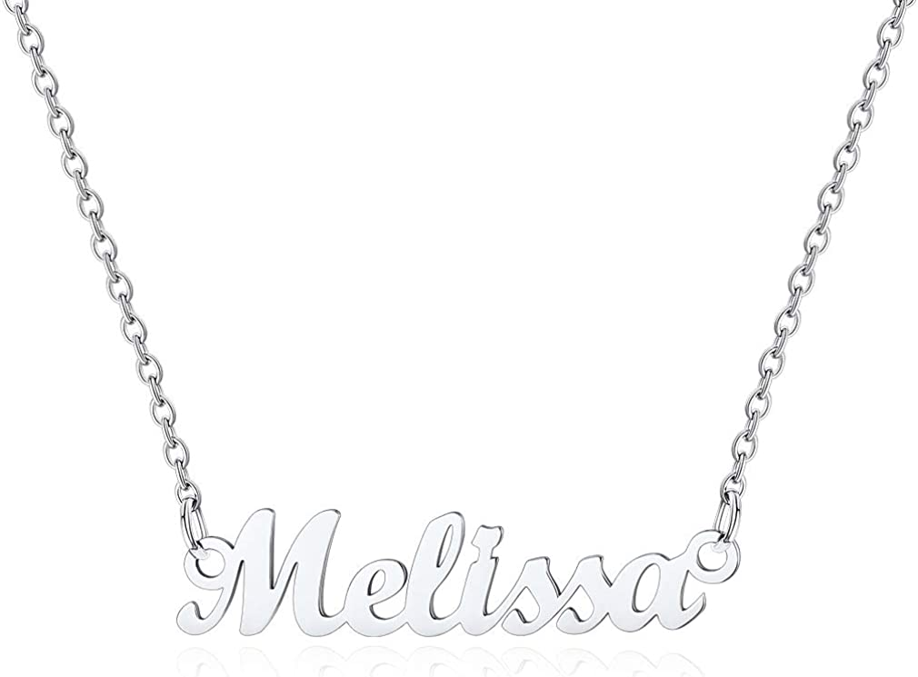 Custom4U Name Plated Necklace 18K - Stainless Max 48% New York Mall OFF Steel Gold