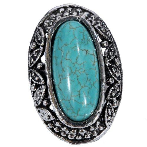 YAZILIND Vintage Tibetan Silver Rimous Turquoise Unique Design Striking Big Ring Adjustable Women