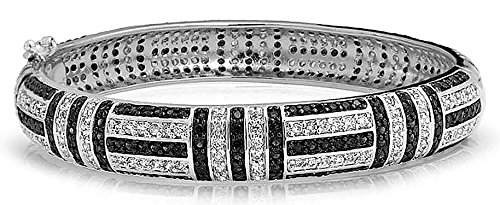 Bling Jewelry Art Déco-Stil Geometrische Schwarz Weiß Zirkonia CZ Erklärung Armreif Für Damen Messing
