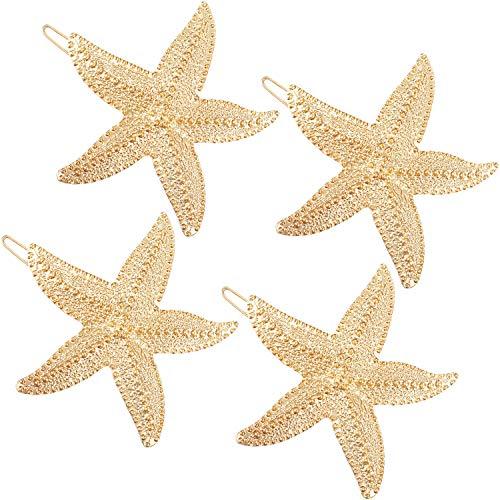 4 Pieces Starfish Hair Clip Metal Starfish Hairpin Sea Star Hair Clip Beach Hair Pins for Women Hair Accessories
