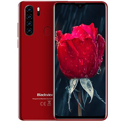 Blackview A80 Pro 4G Móviles 2020, Android 9.0 Smartphone Libres Face ID, 6,49 HD Display, 4GB +64GB, 4680mAh Batería Telefono Dual SIM, Móvil Libre 128GB TF Ampliable 13MP + 8MP (EU Versión) Rojo