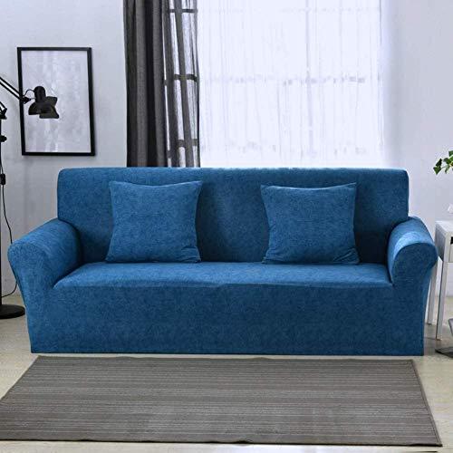 HFTYCC Fundas para sofá 1/2/3/4 plazas Elegante Funda / Protector para Muebles Jacquard, poliéster elástico Tela Duradera-4 plazas_Lake Blue