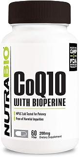 NutraBio CoQ10 Dietary Supplement with Bioperine (60 Capsules, 200mg)
