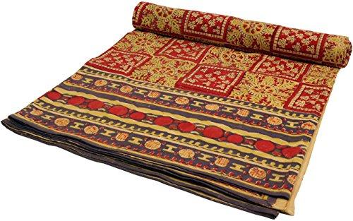 Guru-Shop Blockdruck Tagesdecke, Bett und Sofaüberwurf, Handgearbeiteter Wandbehang, Wandtuch Rot, Mehrfarbig - Design 24, Baumwolle, Größe: Double 225x275 cm, Tagesdecken mit Blockdruck