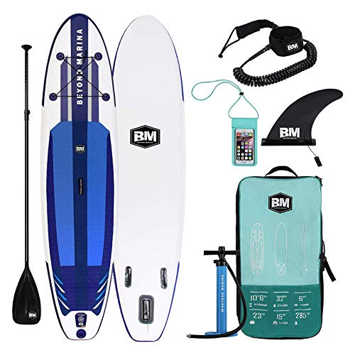 "BEYOND MARINA Inflatable Paddle Boards Ultra-Light Stand Up Paddle Board 10'6'' Long 6"" Thick Surf Board, Designed Carbon Paddle, 32 inch Wide Stance (Upgraded)"